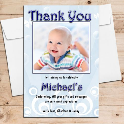 10 Personalised Boys Birthday Christening Thank you PHOTO Cards N101